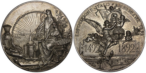100968  |  UNITED STATES & ITALY. Christopher Columbus silvered bronze Medal.
