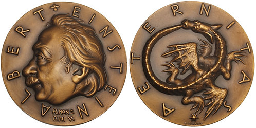 100887  |  UNITED STATES, GERMANY & ITALY. Albert Einstein bronze Medal.