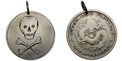 100945  |  CHINA. Skull and Crossbones engraved Token.