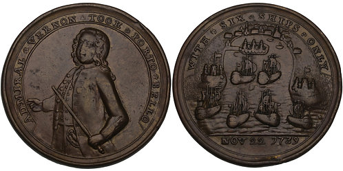 100583  |  UNITED STATES, GREAT BRITAIN, PANAMA & SPAIN. Adm Vernon brass Medal.