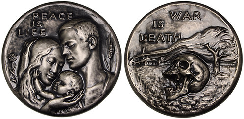 100067  |  UNITED STATES. Peace is Life — War is Death silvered bronze Medal.