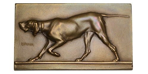 101262  |  FRANCE. Hunting Dog bronze uniface Plaque.