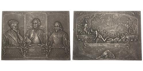 100992  |  CANADA & FRANCE. Cartier, Montcalm & Champlain aluminum Plaque.