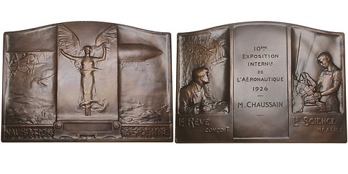 100604  |  FRANCE. Aerial Navigation bronze award Plaque.