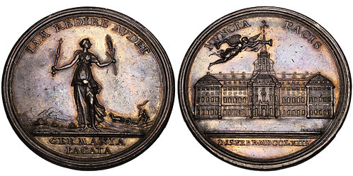 100185  |  UNITED STATES & GERMANY. Colonial America and Prussia silver Medal.