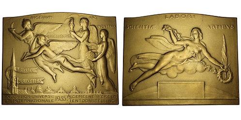 100389  |  BELGIUM. Bruxelles (Brussels) bronze Plaque.