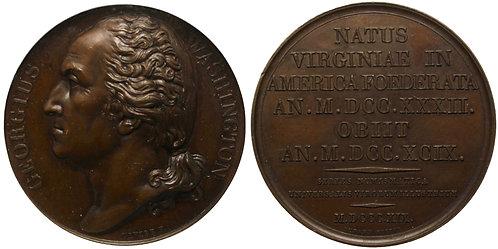 100434  |  UNITED STATES & FRANCE. George Washington bronze Medal. PCGS MS63.