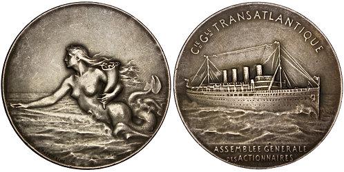 101507  |  FRANCE. Nude Siren/Compagnie Générale Transatlantique silver Medal.