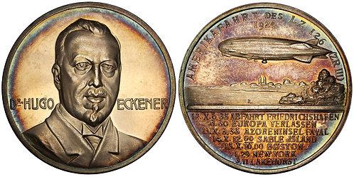 101313     UNITED STATES & GERMANY. Dr. Hugo Eckener silver Medal.