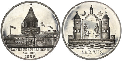 101068  |  DENMARK. National Exhibition white metal Medal.