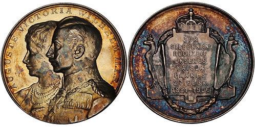 100372     GERMANY. Wilhelm II with Augusta Viktoria silver Medal.