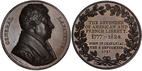 101226  |  UNITED STATES & FRANCE. Marquis de Lafayette bronze Medal.