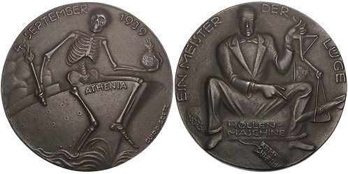 100794  |  GERMANY & GREAT BRITAIN. HMS Athenia satirical cast iron Medal.