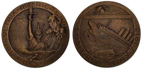 100100  |  UNITED STATES/FRANCE. Sinking of the Lusitania bronze Medal.
