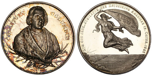 101085  |  UNITED STATES & GERMANY. Christopher Columbus silver Medal.
