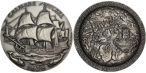 100717  |  UNITED STATES & SWEDEN. New Sweden/Delaware silvered bronze Medal.