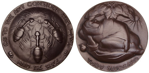 100064  |  UNITED STATES. The Sluggard and the Ant bronze Medal.