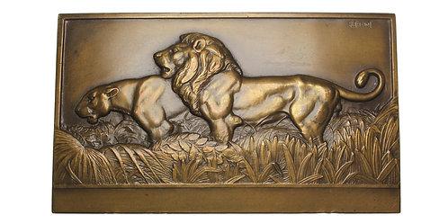 101258  |  FRANCE. Lion & Lioness Art Deco bronze uniface Plaque.
