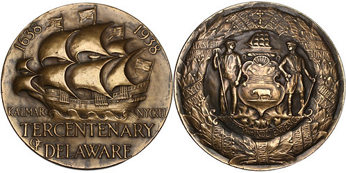 100306  |  UNITED STATES & SWEDEN. New Sweden Founding bronze Medal.