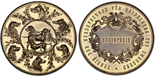 101515  |  GERMANY. Heidelberg. Dog Lovers' Association gilt bronze award Medal.