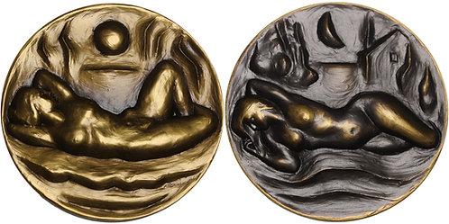 100310  |  UNITED STATES. Sunrise and Moonrise bronze Medal.