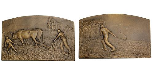 """100317     FRANCE. """"L'agriculture"""" bronze Plaque."""