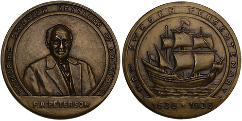 100601  |  UNITED STATES & SWEDEN. Pehr August Peterson brass Medal.