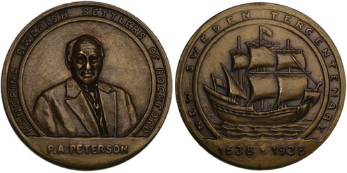 100601 | UNITED STATES & SWEDEN  Pehr August Peterson brass Medal