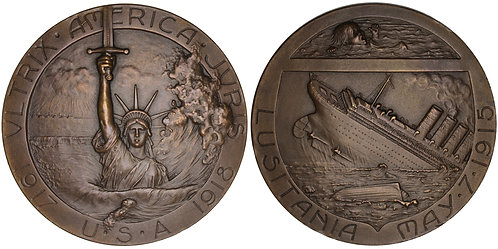 101016  |  UNITED STATES & FRANCE. Sinking of the RMS Lusitania Bronze Medal.