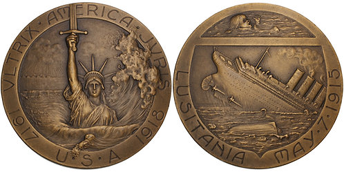 100683  |  UNITED STATES & FRANCE. Sinking of the Lusitania bronze Medal.
