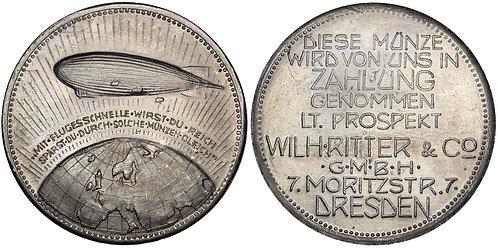 101330  |  GERMANY. Dresden. Wilhelm Ritter & Co./Zeppelin aluminum Token.