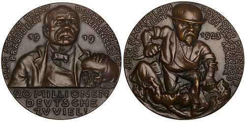 101057  |  GERMANY & FRANCE. Satirical cast bronze Medal.