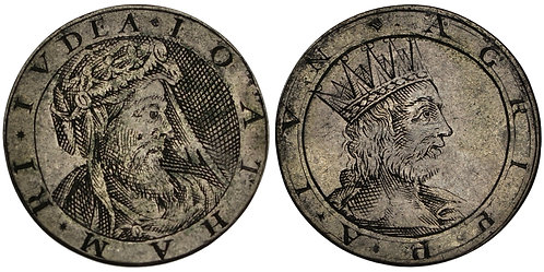 100655  |  ISRAEL & GREAT BRITAIN. Jotham of Judah & Agrippa II silver Jeton.