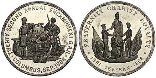 101125  |  UNITED STATES. Columbus, Ohio. G.A.R. Reunion white metal Medal.