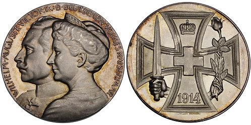 100561  |  GERMANY. Wilhelm II with Auguste Viktoria silver Medal.