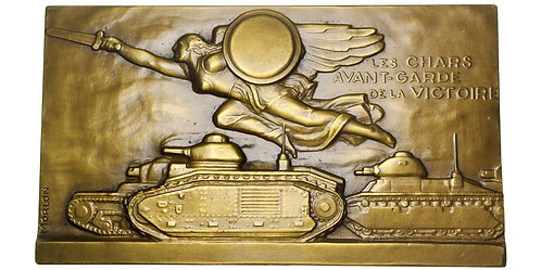 101611  |  FRANCE. Victory and Tanks Art Deco bronze Plaque.