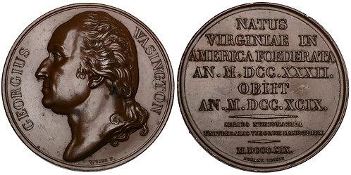101587  |  UNITED STATES, FRANCE & GERMANY. George Washington bronze Medal.