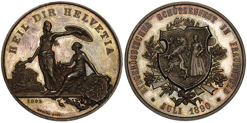100661  |  SWITZERLAND. Frauenfeld. Silver Schützenmedaille (Shooting Medal).