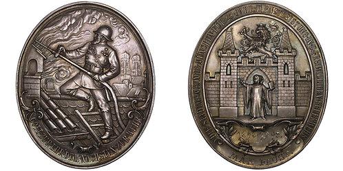 101020  |  GERMANY. Firefighter's oval silver Award Medal.
