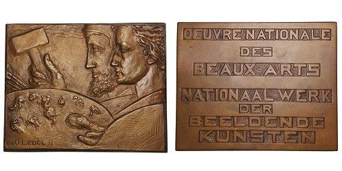 100265  |  BELGIUM. Beaux-Arts/Beeldende Kunsten bronze Plaque.