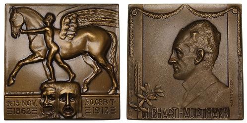 100324  |  GERMANY. Gerhart Hauptmann bronze Plaque.