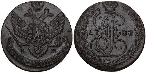 100737     RUSSIA. Yekaterina II Velikaya 1788-EM copper 5 Kopeks.