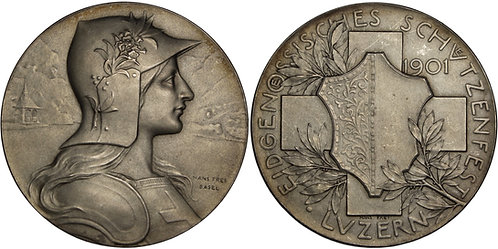100318  |  SWITZERLAND. Silver Schützenmedaille (Shooting Medal).