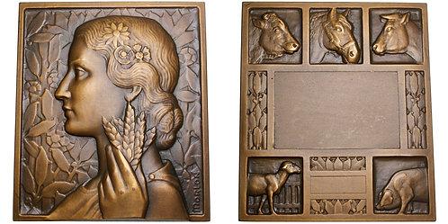 101606  |  FRANCE. Agricultural Show Art Deco bronze award Plaque.