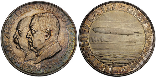 100680  |  GERMANY. Graf von Zeppelin and Hugo Eckener silver Medal.
