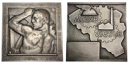 101279  |  BELGIUM. Art Deco silvered bronze Plaque.