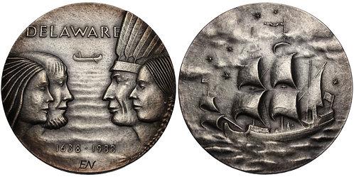 100247     UNITED STATES & SWEDEN. New Sweden/Delaware Founding silver Medal.