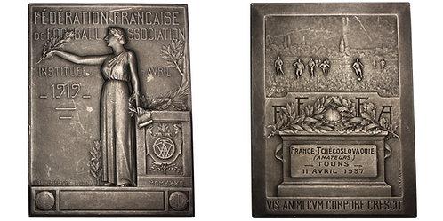 100697  |  FRANCE & CZECHOSLOVAKIA. Soccer silver Plaque.