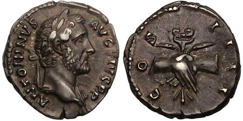 100883  |  ROMAN EMPIRE. Antoninus Pius silver Denarius.