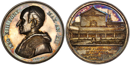 101266  |  ITALY. Prisoner of the Vatican. Pope Leo XIII silver Medal.